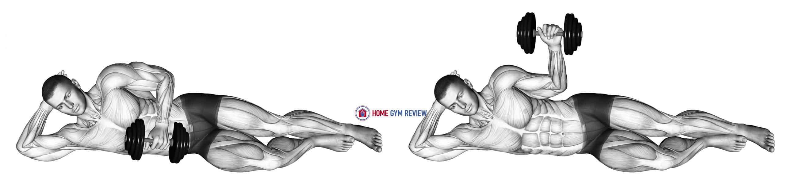 Dumbbell lying external shoulder rotation