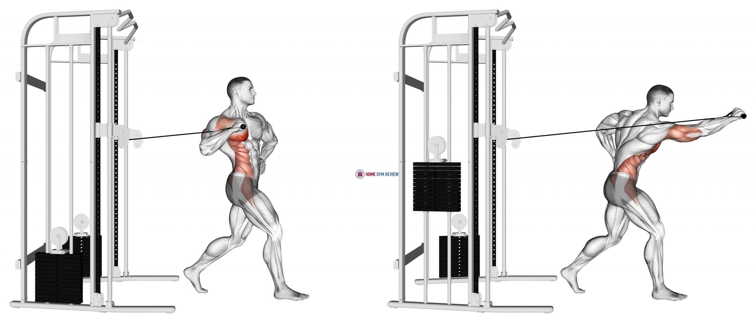 Cable twisting standing one arm chest press