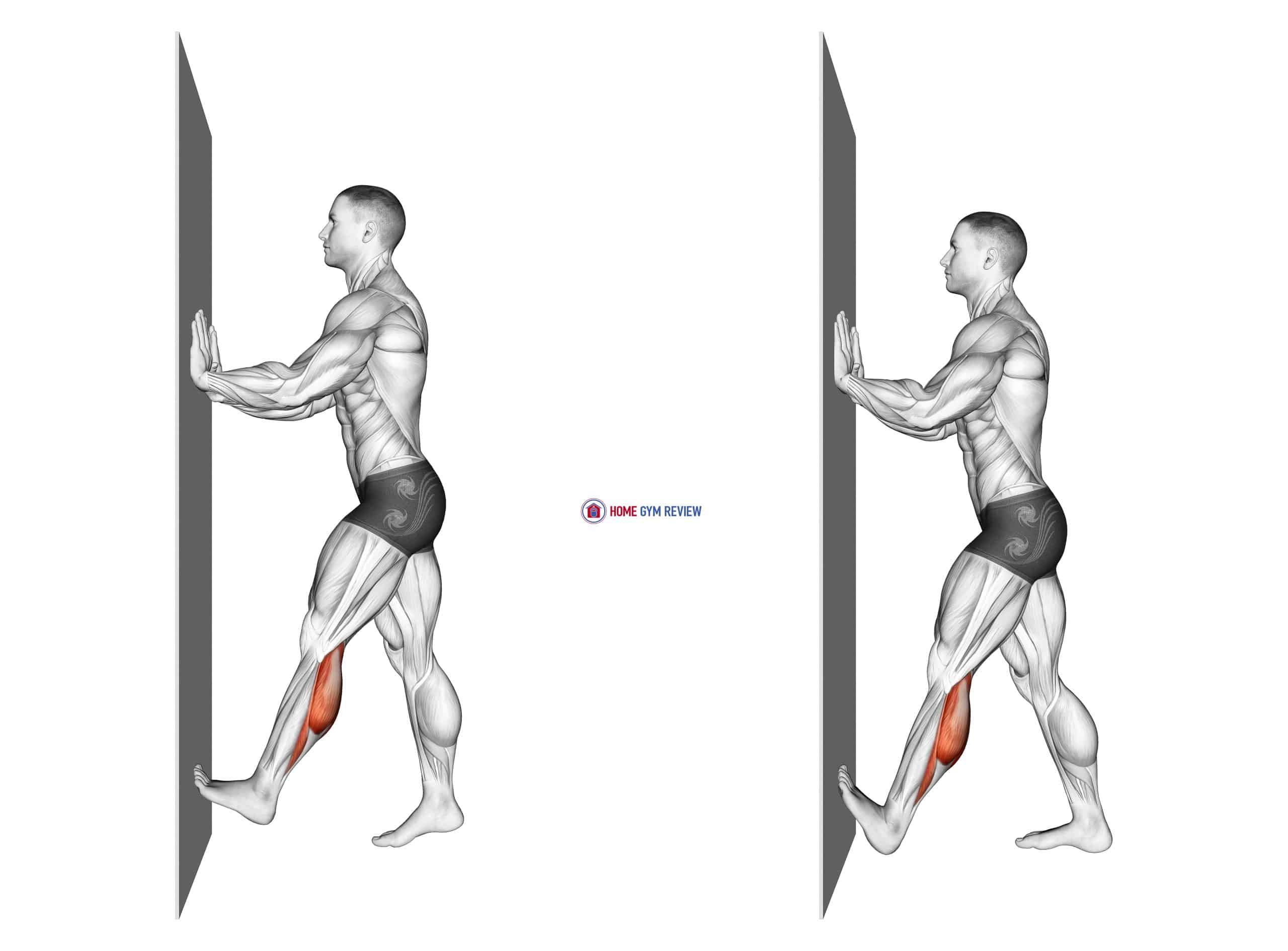 Calf Push Stretch With Hands Against Wall
