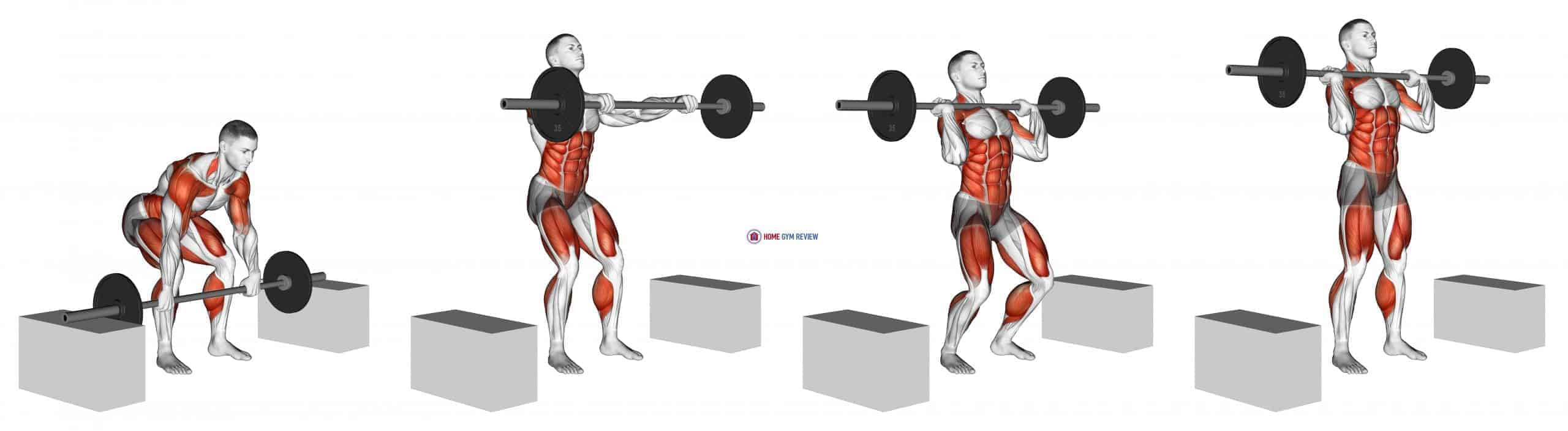 Barbell Power Clean from Blocks