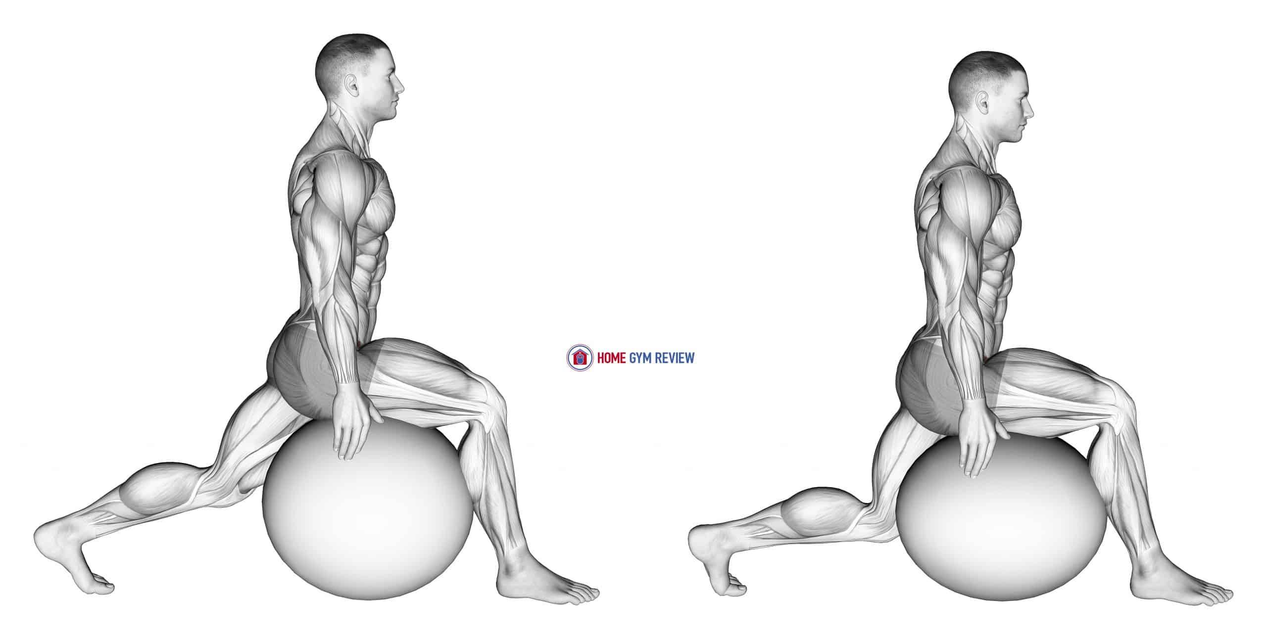 Exercise Ball Hip Flexor Stretch