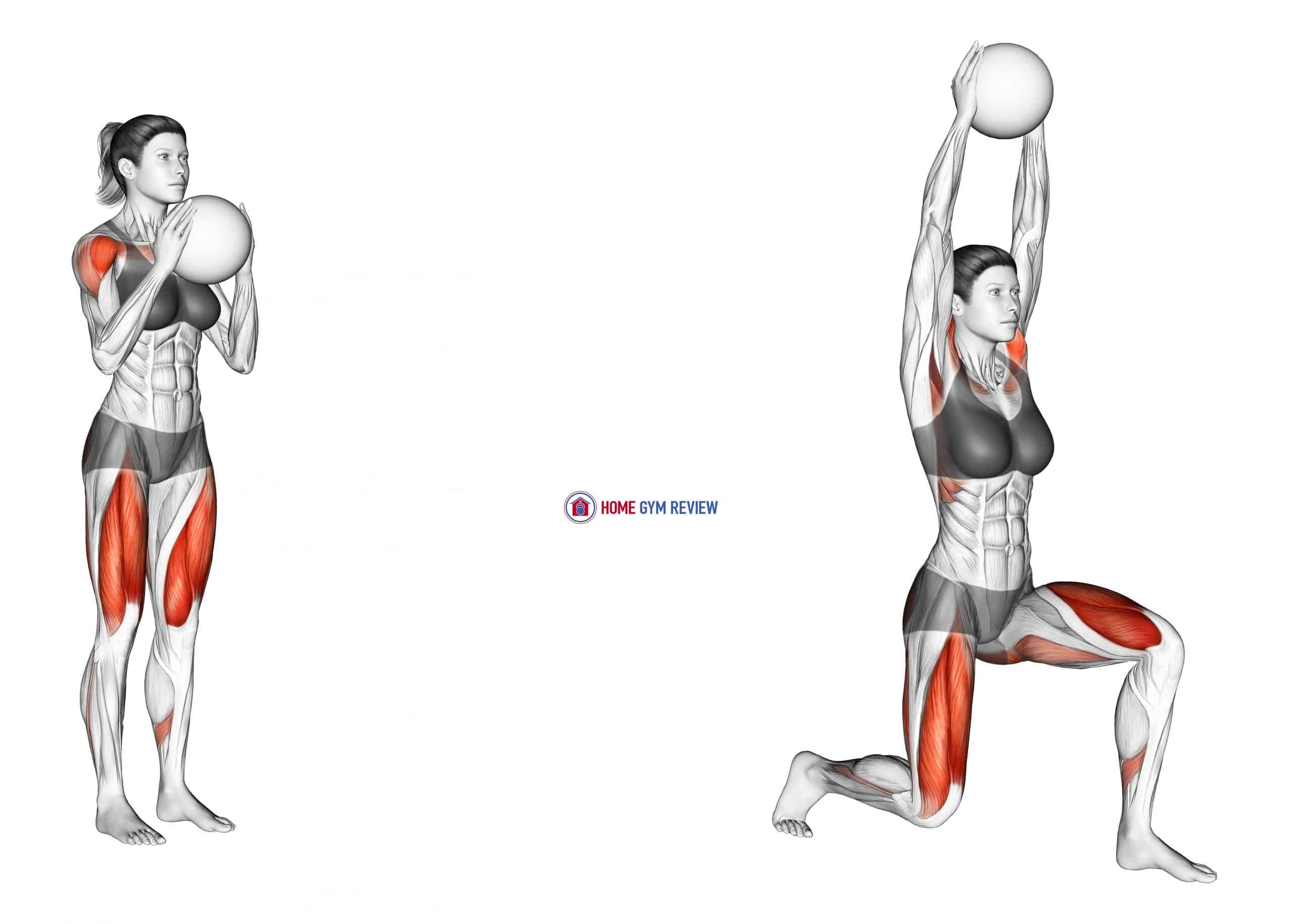Sagittal Plane Lunge With Overhead Medicine Ball Press