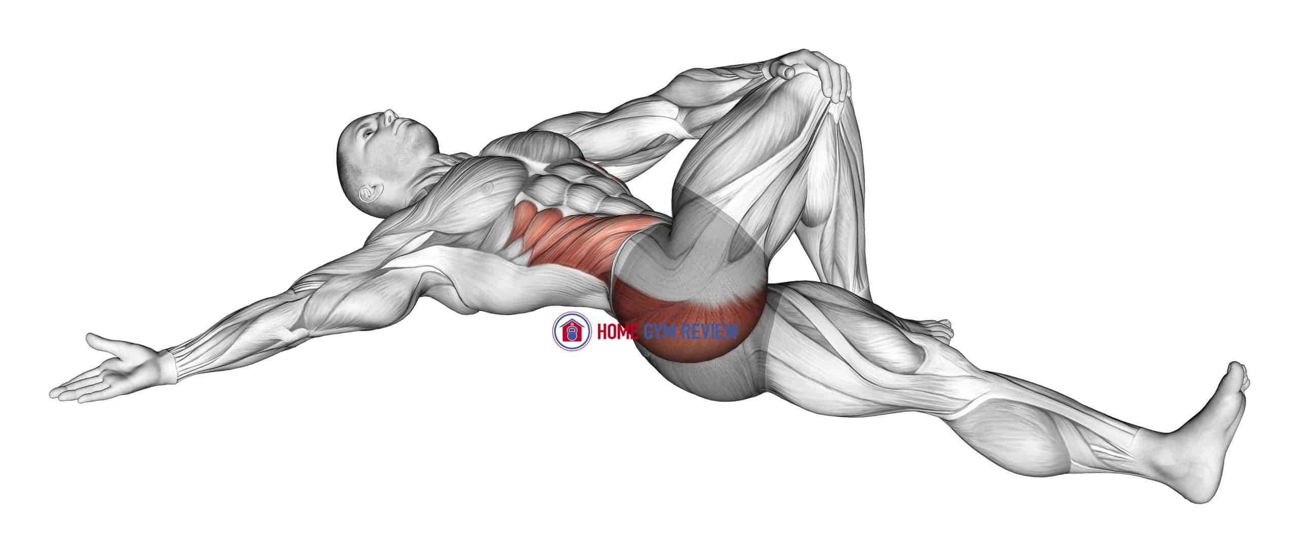Lying Cross Over Knee Pull Down Stretch