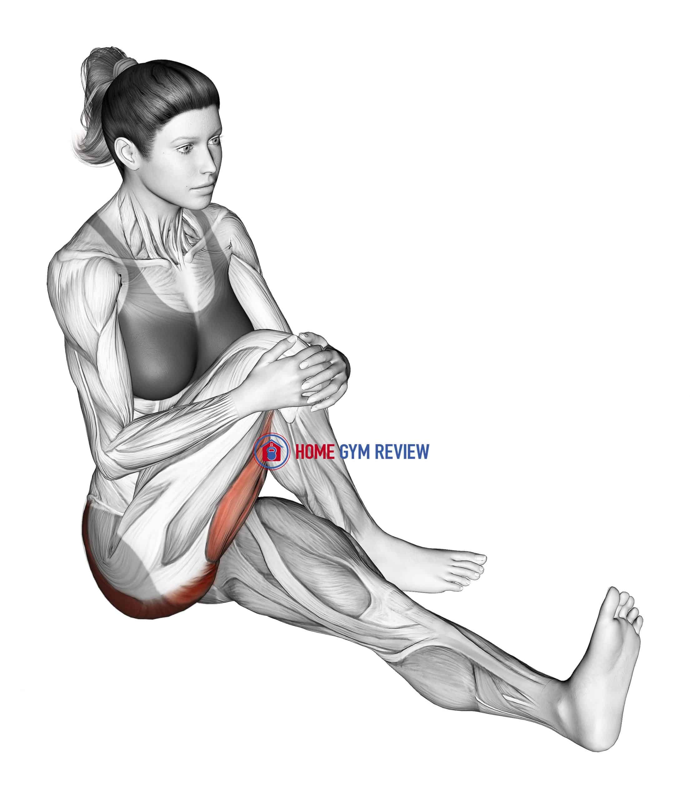 Seated Bent Knee To Chest Buttock Stretch