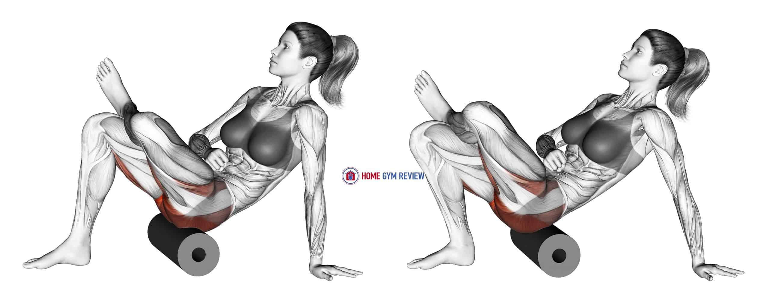 Roll Recumbent Hip External Rotator and Hip Extensor Stretch (Crossed Leg)