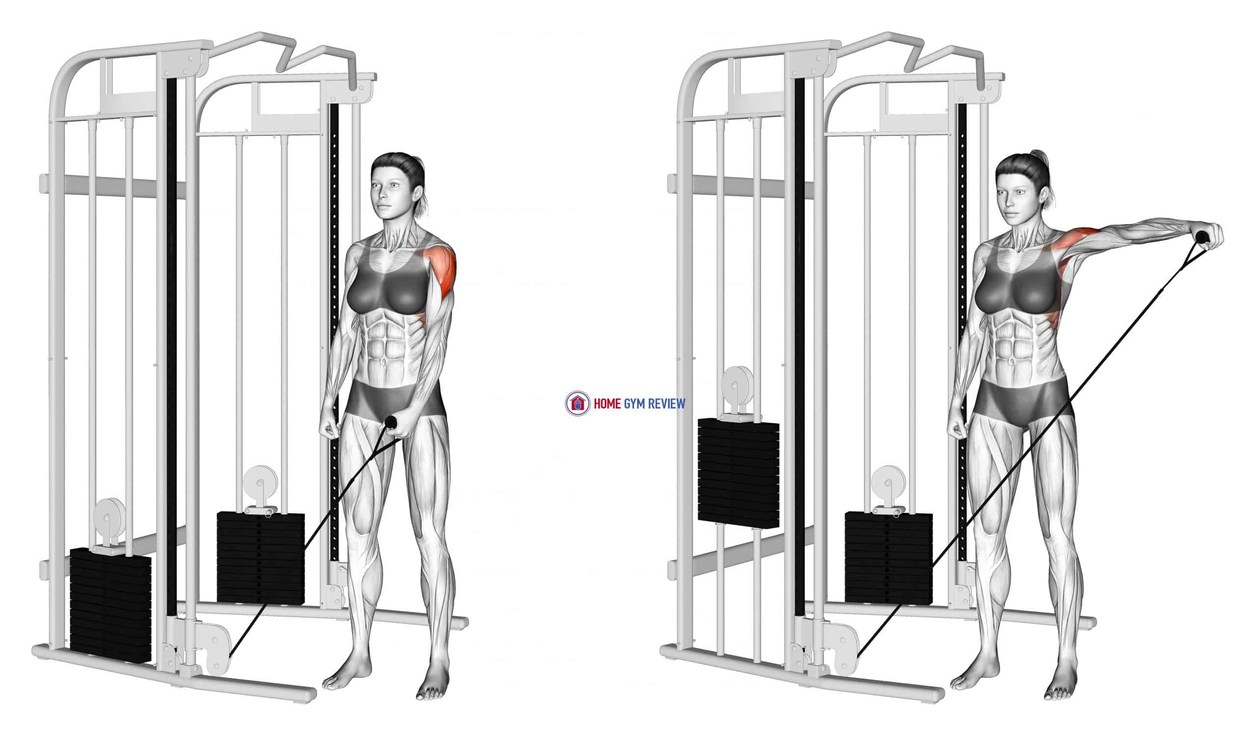 Cable One Arm Lateral Raise (female)