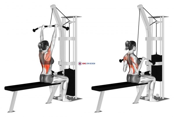 Cable Bar Lateral Pulldown (female)