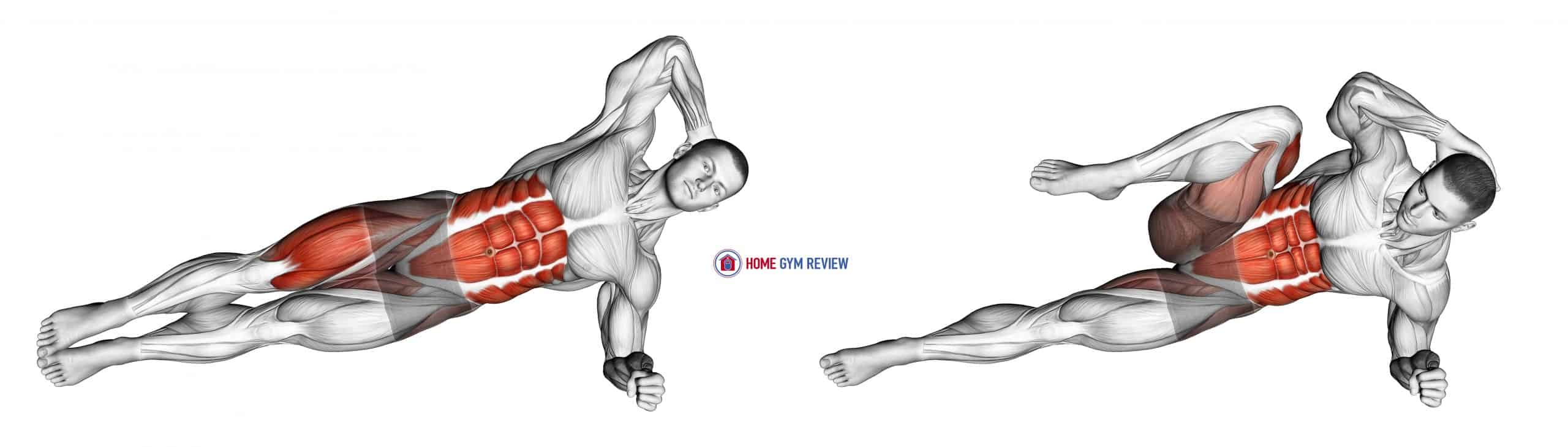 Elbow to Knee Side Plank Crunch (male)