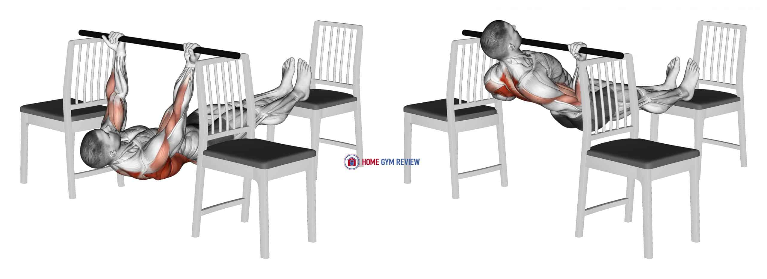 Elevanted Inverted Underhand Grip Row between 3 Chairs