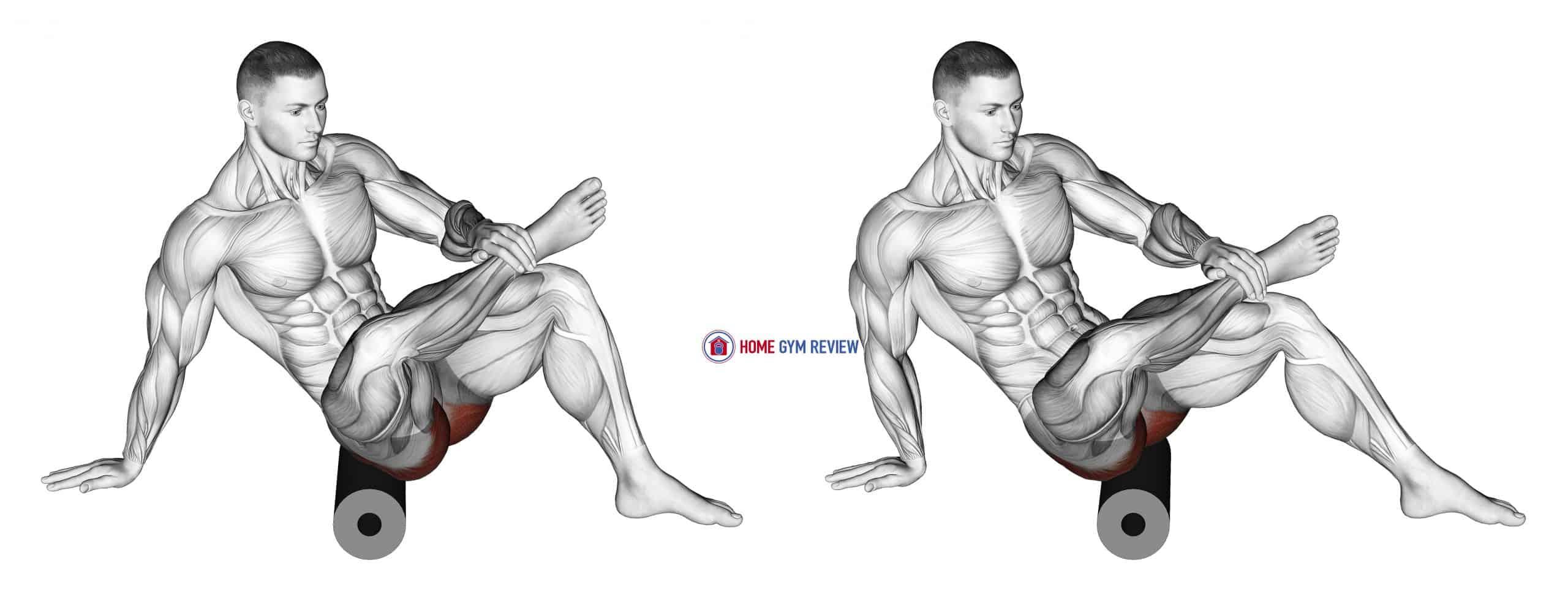 Roll Recumbent Hip External Rotator and Hip Extensor Stretch (CrossedLeg) (male)