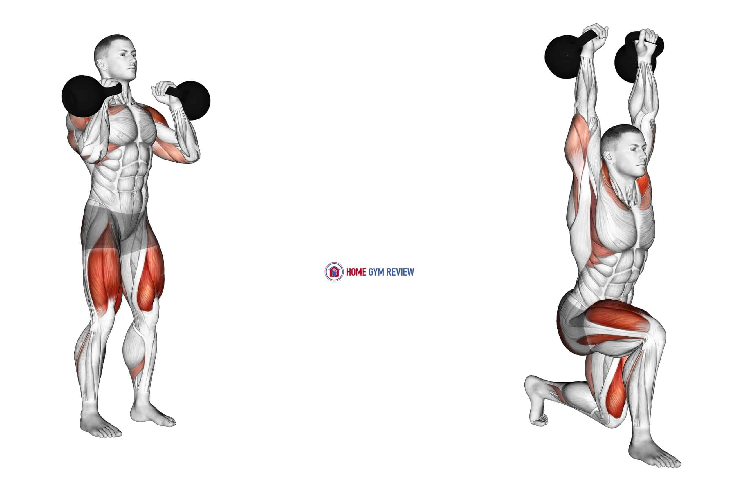 Kettlebell Lunge Clean and Press