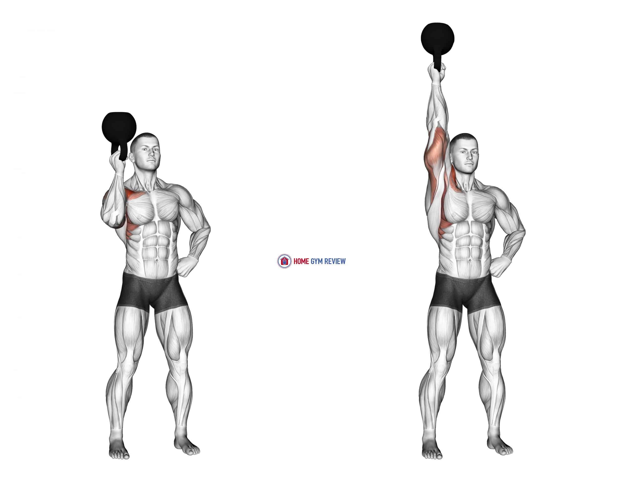 Kettlebell Standing Bottoms Up One Arm Shoulder Press
