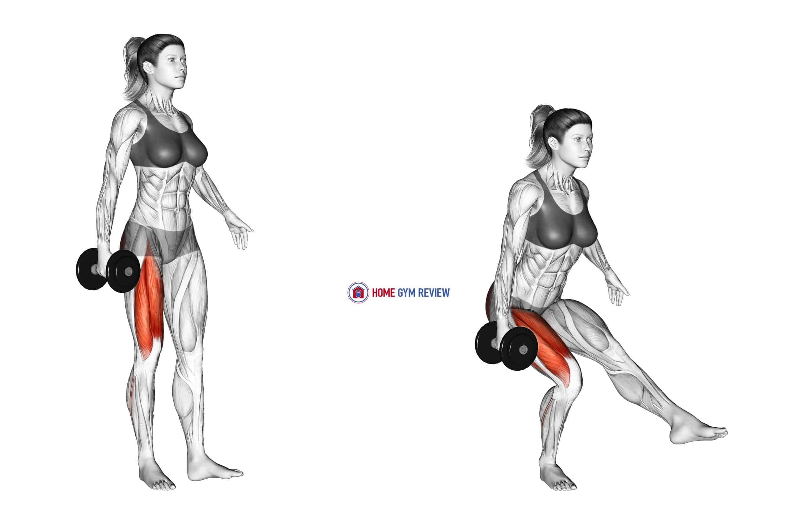 Dumbbell Single Leg Squat (VERSION 2) (female)