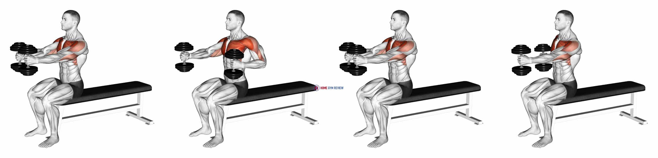 Dumbbell Seated Upright Alternate Squeeze Press